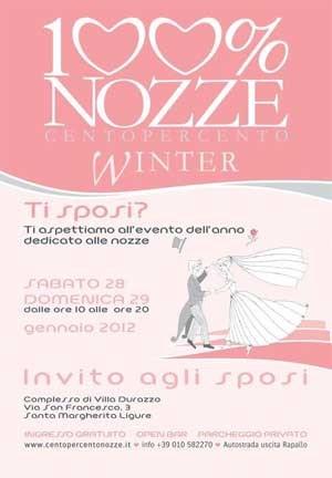 """Capurro Ricevimenti 28 e 29 Gennaio 2012:  """"Centopercento Nozze""""- winter edition - ritorna a Villa Durazzo,  S.Margherita Ligure image 1"""