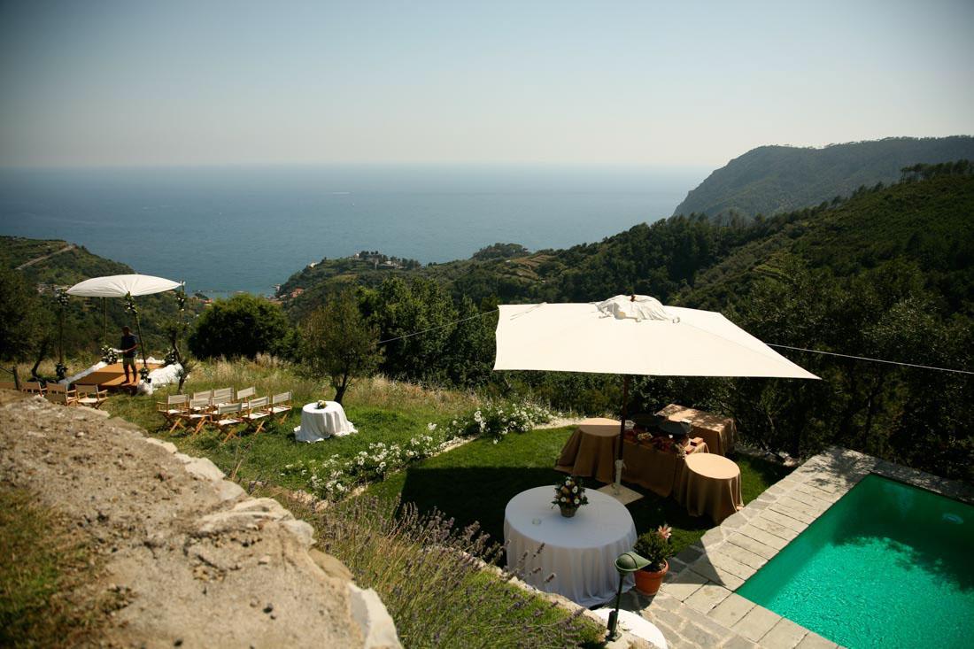 Eremo di Monterosso vista panoramica del giardino e della piscina allestiti per matrimonio civile all'aperto e tavoli per l'aperitivo.