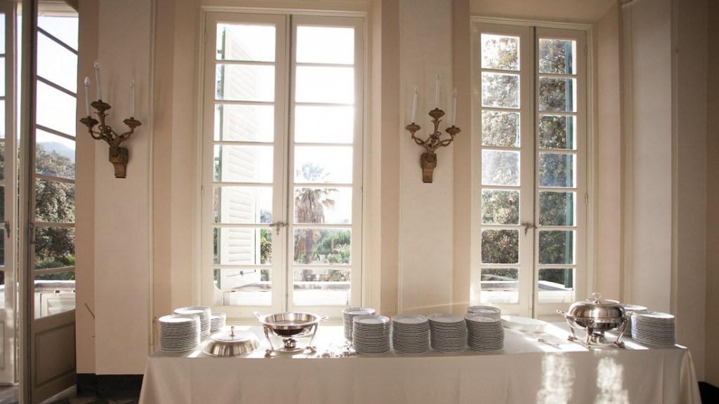 Villa Durazzo vista verso il giardino del tavolo allestito per l'evento