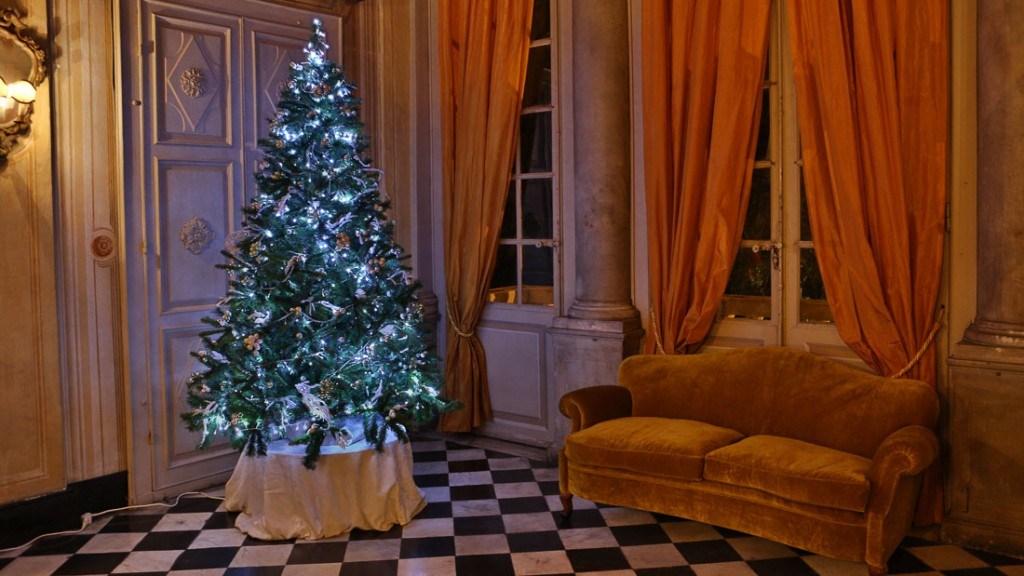 Villa Lo Zerbino sala interna vista albero di natale illuminato