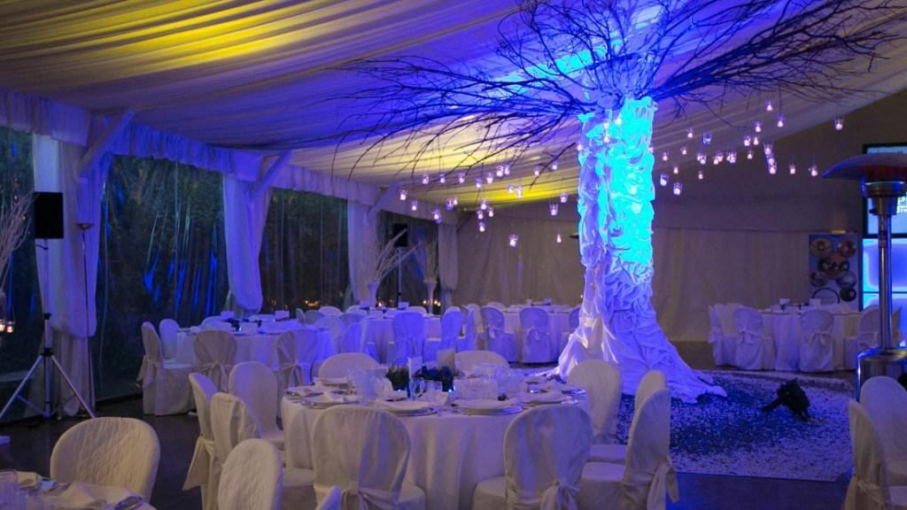 Villa Lo Zerbino cena aziendale nella tensostruttura con tovaglie bianche centrotavola e albero illuminato di azzurro