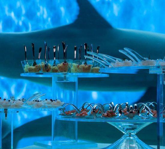 Acquario di Genova evento aziendale particolare alzatina con buffet per aperitivo