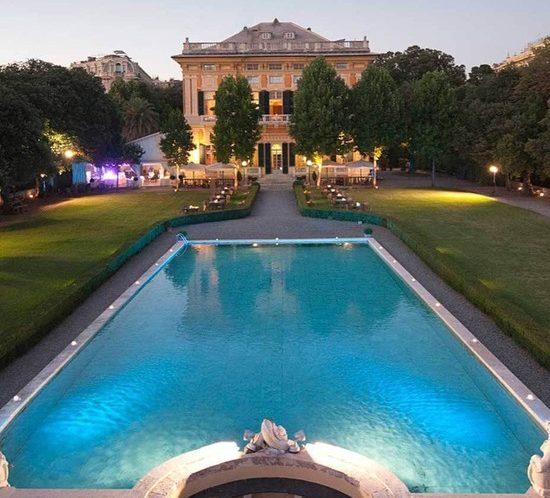 Villa Lo Zerbino vista panoramica del giardino evento all'aperto dei tavoli