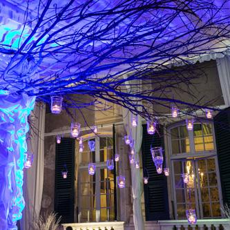 Villa Lo Zerbino vista particolare albero dentro alla tensostruttura illuminato con candele e luci blu
